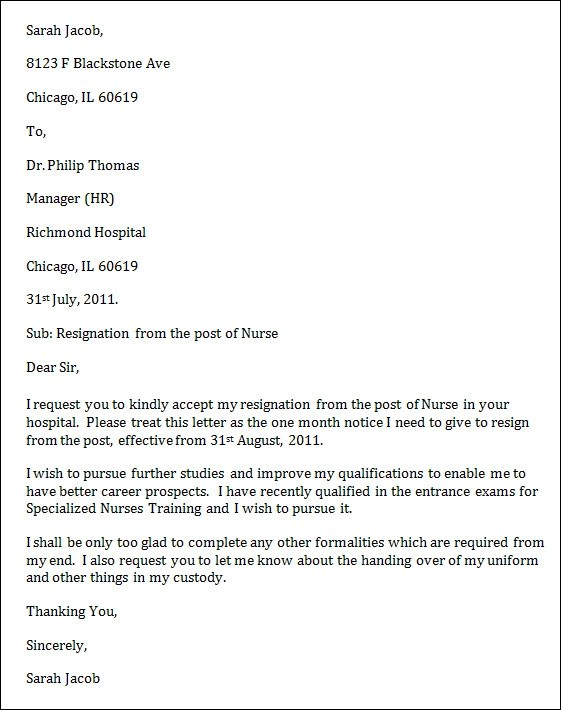Resignation Letter Allnurses Sample Nurse Resignation Letter