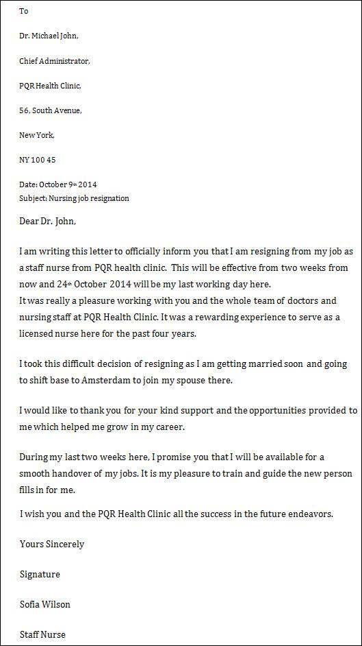 Nursing Resignation Letters Sample Templates - nurse resignation letter