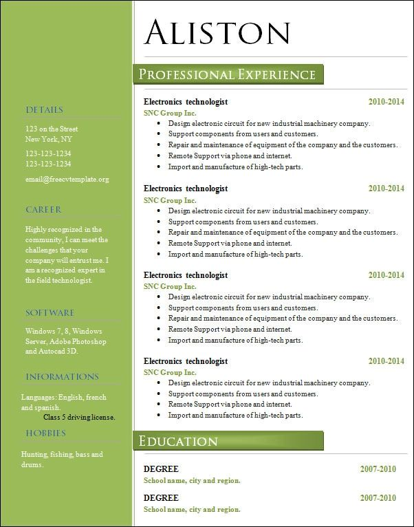 resume of experienced marketing professional
