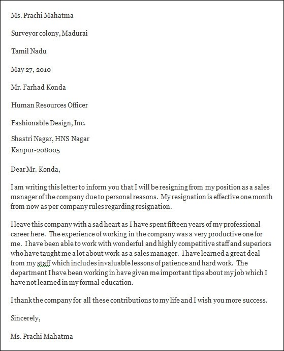 Resignation Letter Format Reason | Legal Loan Contract Template