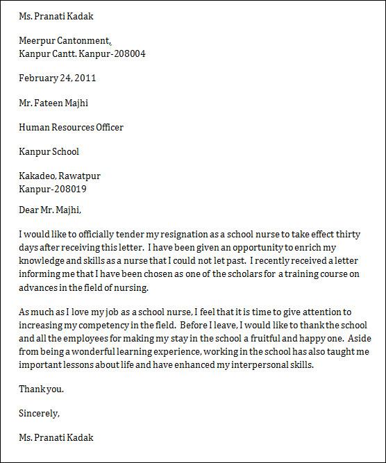 sample resignation letter nurse - Honghankk