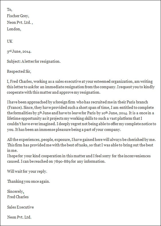 Doc529684 Resignation Letter Sample Word Format Free Letter – Word Format of Resignation Letter