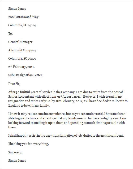 Sample Formal Resignation Letter Sample Letters Of Resignation Sample ...