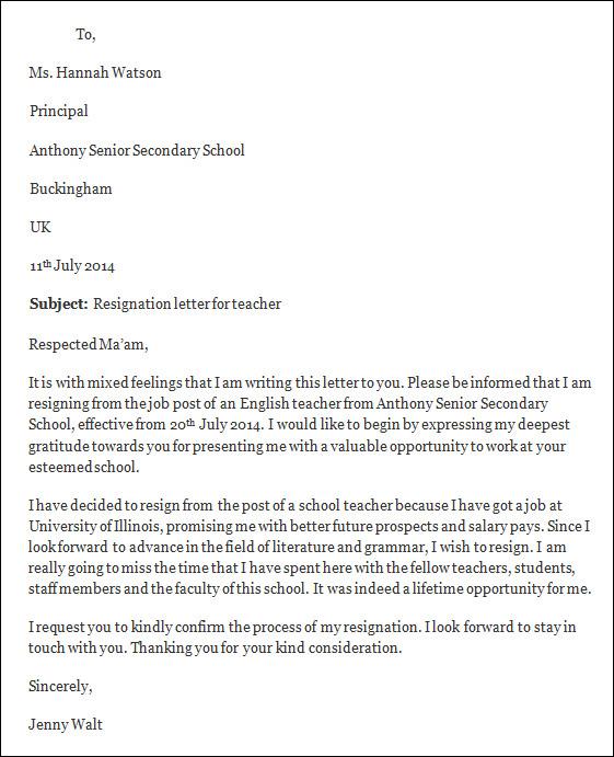 Resignation Letter Template, Free Resignation Letter Template - teacher resignation letter