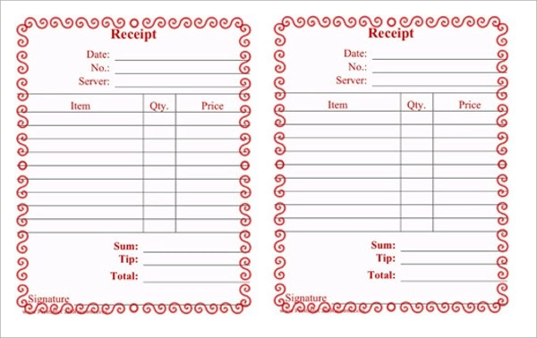 19+ Restaurant Receipt Templates \u2013 PDF, Word, Excel Sample Templates