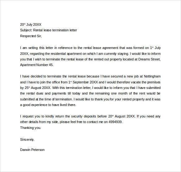 termination letter to tenant