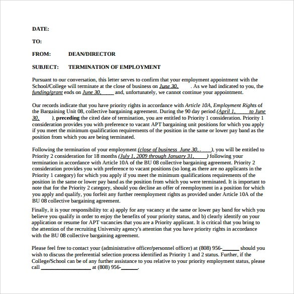 free employee termination letter templates