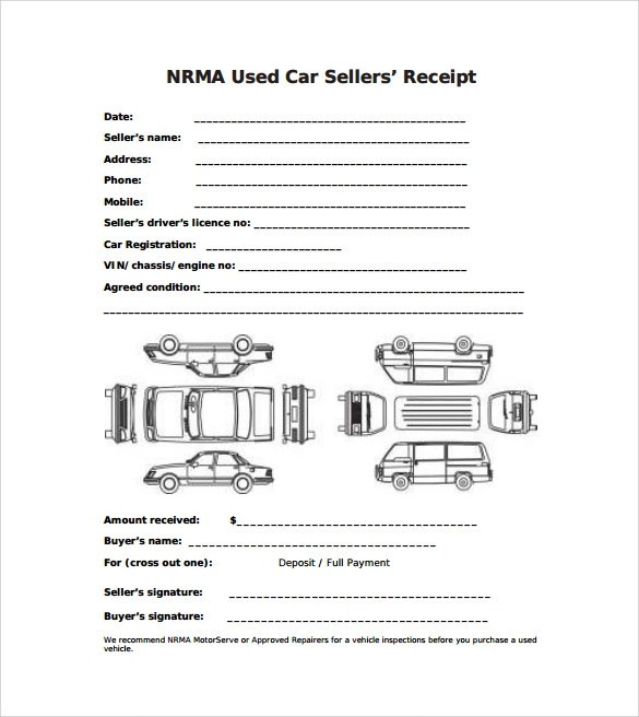 aa car sales receipt – notators, Invoice templates