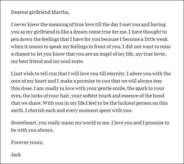 Love Letters For Girlfriend gplusnick - free sample love letters to wife