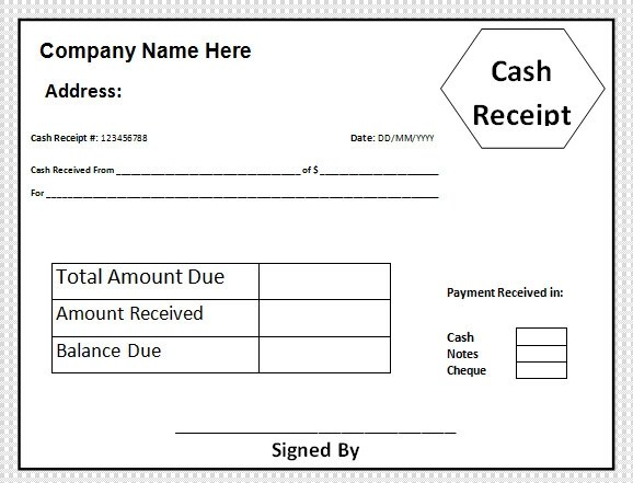 Cash Receipt Format – Cash Sale Receipt Template Word