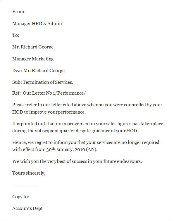 Employee Contract Sample California – Termination Letter California