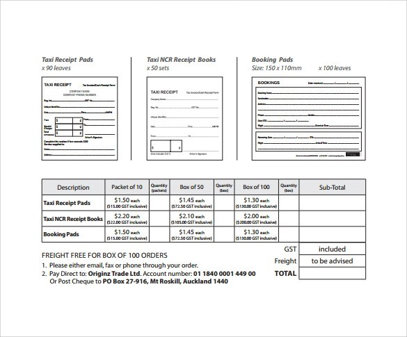 Taxi Receipt Template - 9+ Free Download for Word, PDF - blank receipt template microsoft word