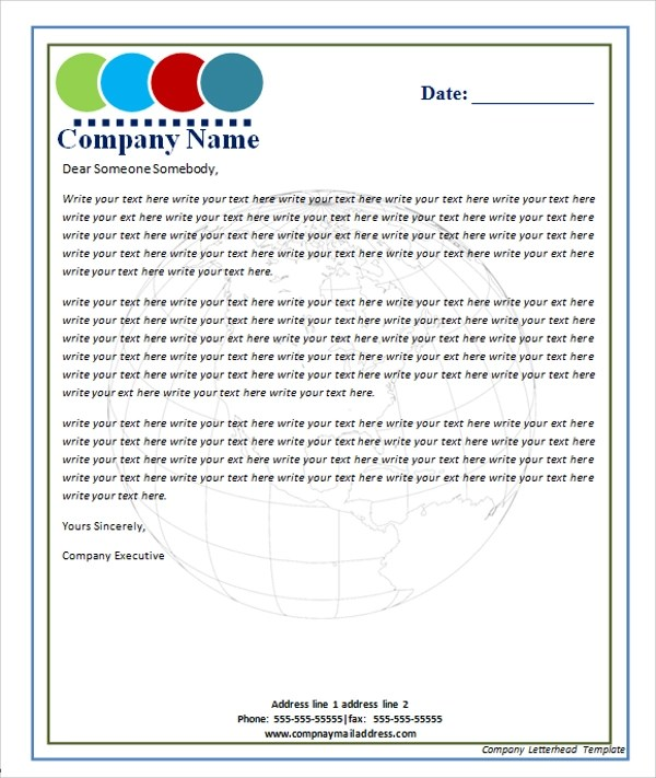 42 Company Letterhead Templates Sample Templates - Free Business Letterhead Templates For Word