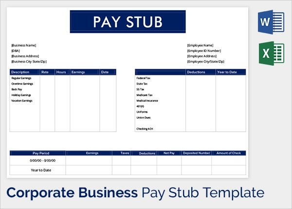 25 Sample Editable Pay Stub Templates to Download Sample Templates - payroll stubs templates