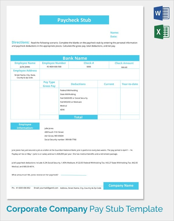 Sample Pay Stub Template - 24+ Download Free Documents in PDF , Word