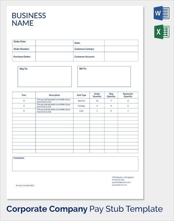 25 Sample Editable Pay Stub Templates to Download Sample Templates - paycheck stub templates free