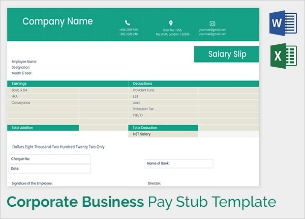Sample Pay Stub Template - 24+ Download Free Documents in PDF - pay slip templates