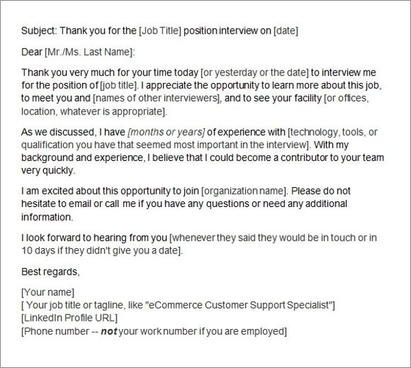 thank you letter after interview via email sample job interview thank you letter examples the balance