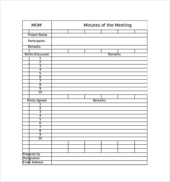 excel meeting minutes format template