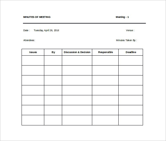 42+ Free Sample Meeting Minutes Templates Sample Templates