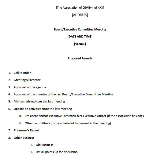 Sample Committee Agenda - sample meeting agenda 2