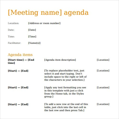 41+ Agenda Templates Sample Templates