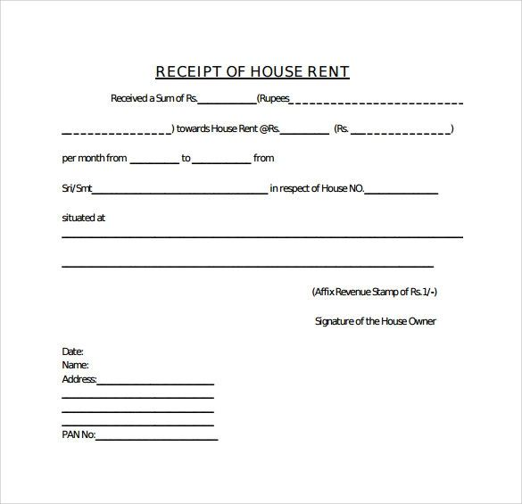 house rent receipt template doc
