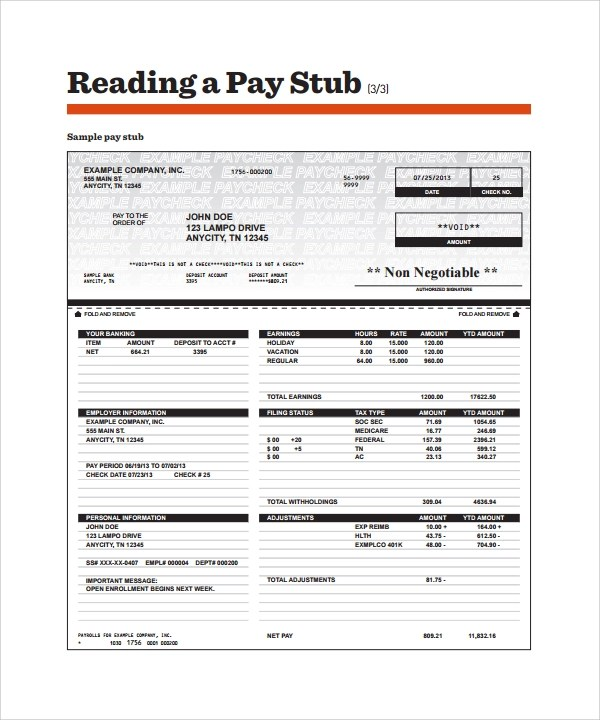 25 Sample Editable Pay Stub Templates to Download Sample Templates