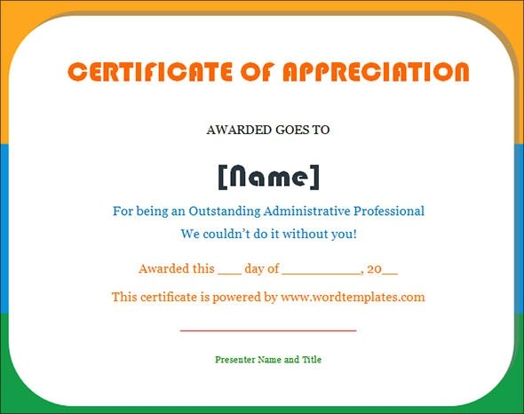 27+ Best Printable Certificate of Appreciation Templates Sample - Certificate Of Appreciation Words