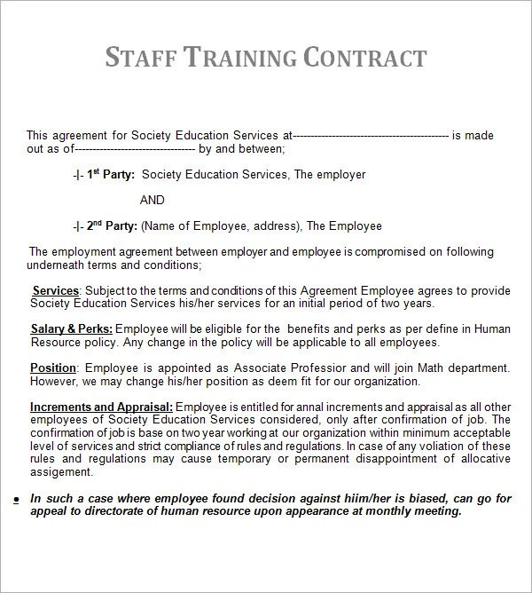 Contract Sample Marriage Contract Sample Sample Marriage Contract - training agreement contract