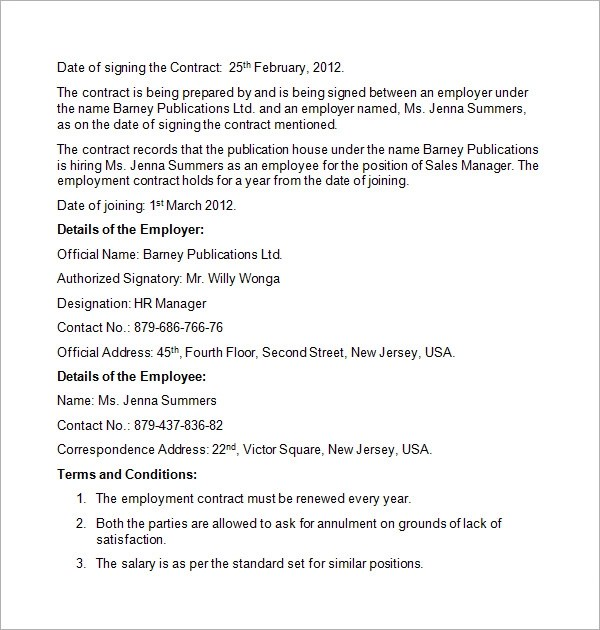 Employment Contract Sample Small Business Employee Contract - dentist employment agreement