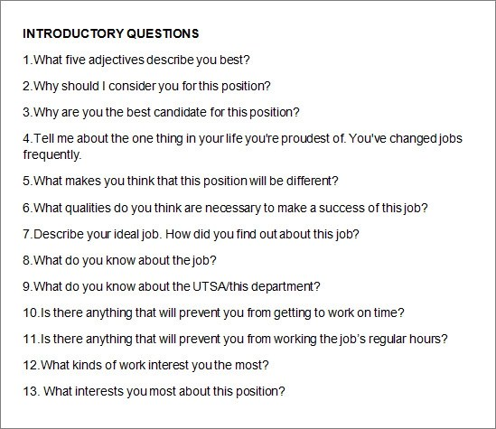 10+ Free Sample Interview Questions Sample Templates