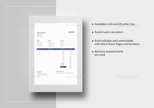 Sample Receipt Template - 40+ Download free Documents in Word, PDF Excel