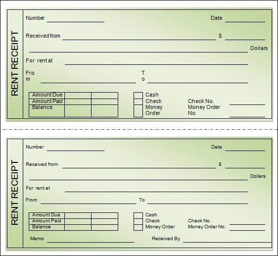 House Rent Receipt Formats 12+ Free Printable Word, Excel  PDF