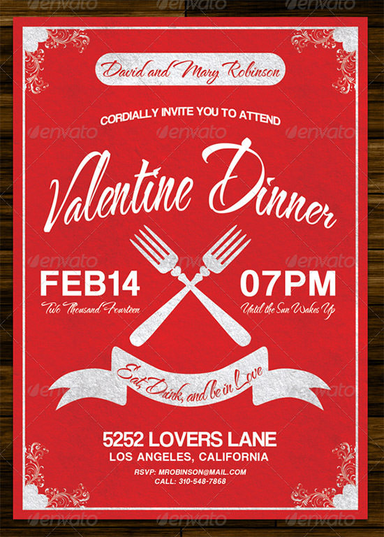 20+ Best Valentines Day Invitation Templates Sample Templates - valentines day menu template