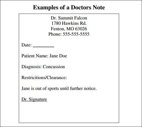 30+ Doctors Note Samples Sample Templates