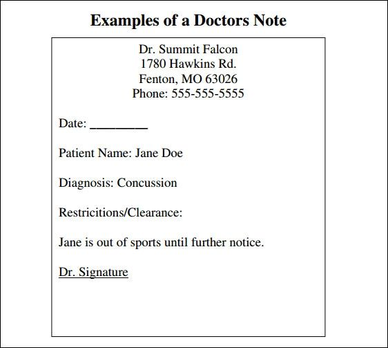 free fake doctors note printable