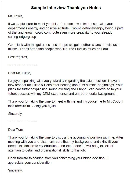 interview thank you note template