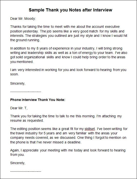 Writing Post Interview Thank You Letters - Resume Template Ideas