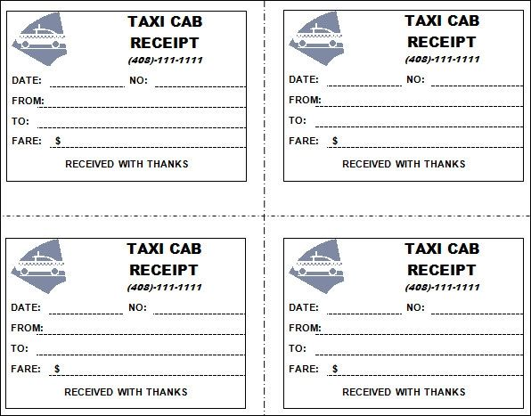 taxi receipt format india