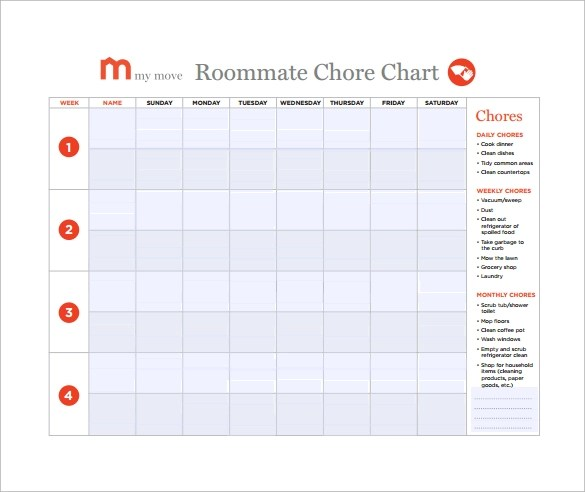 10+ Sample Chore Chart Templates Sample Templates