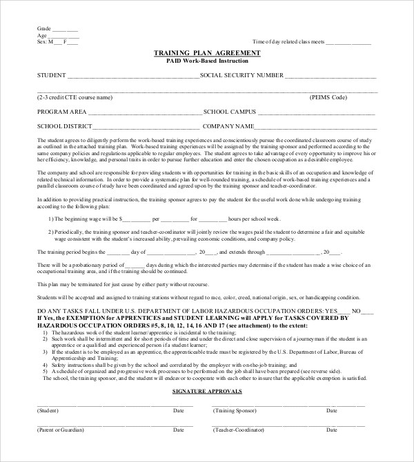 Training Agreement The Personal Training Agreement Sample 1 Can - training agreement contract
