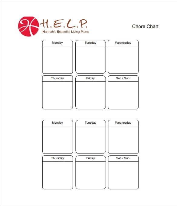 Sample Chore Chart - 9+ Documents in Word, Excel, PDF