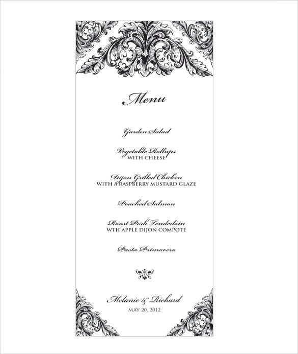 31 Wedding Menu Templates Sample Templates - wedding menu template