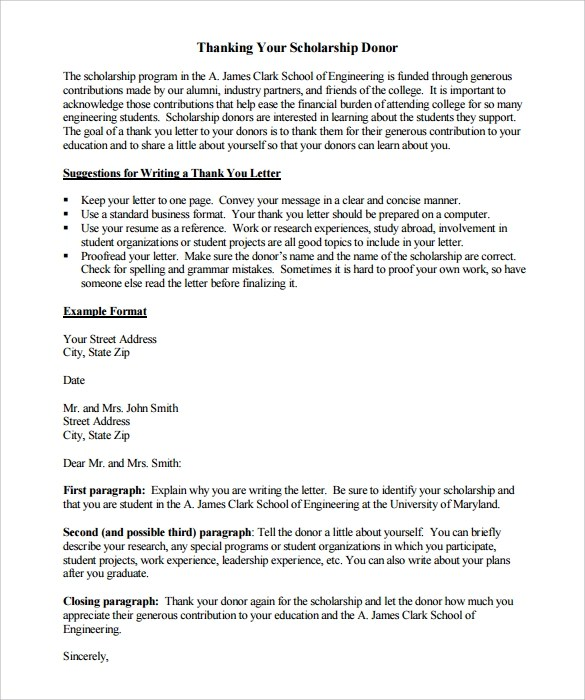 Scholarship Thank You Letter Samples Scholarship Thank You Letter 11 Download Documents In