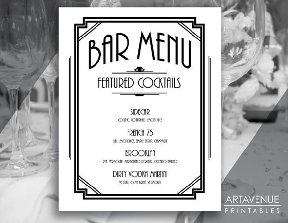 30+ Bar Menus Sample Templates - Free Drink Menu Template
