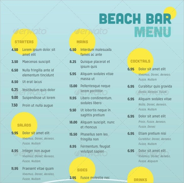 29+ Bar Menu - PSD, Vector EPS - sample drink menu template