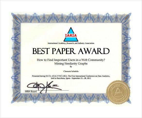 download award certificate