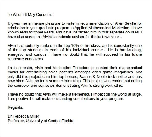 sample recommendation letter for graduate student from professor