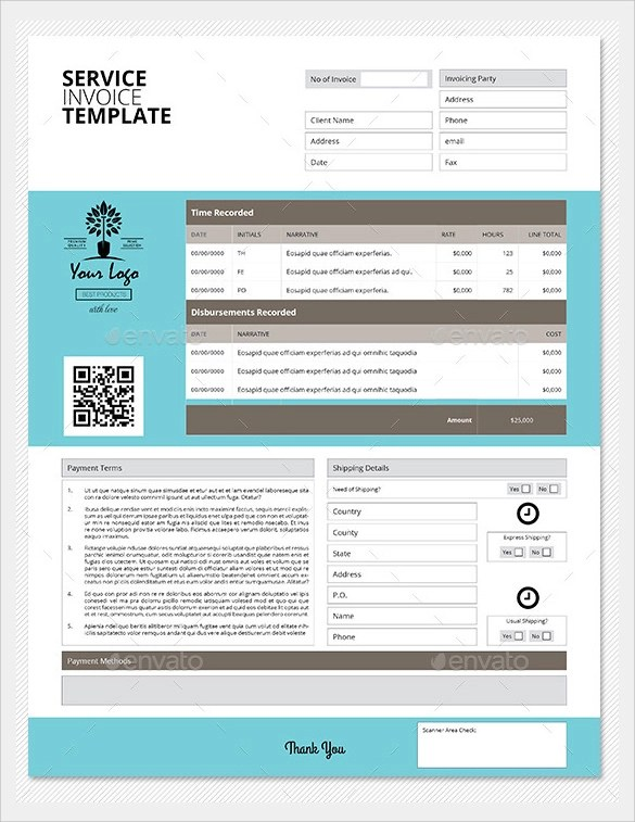 34 Printable Service Invoice Templates Sample Templates - service invoice template